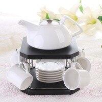 Korea Style ceramic coffee tea set 6 cup 1 teapot coffee utensils set coffee cup with bamboo frame