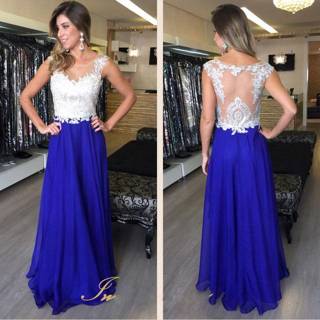 5adf4015e6d068 See Through Royal Blue Prom Dresses Chiffon Scoop Neck A Line Floor Length  White Lace Prom Dresses Vestido Formatura Longo