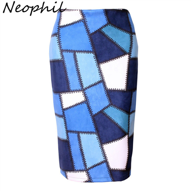 Neophil 2016 Suede Faux Leather Asymmetrical Plaid Pattern Print High Waist Women Knee Length Sexy Slim Pencil Skirts Saia S0910