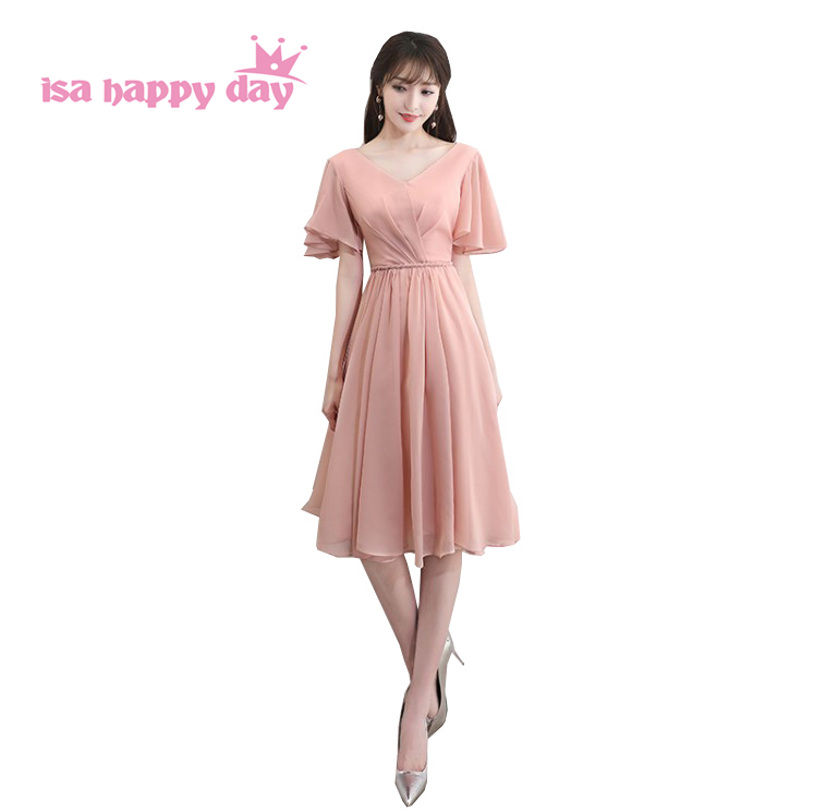 blush pink fashion v neck   bridesmaid   party   dresses   tea length chiffon bridesmaides   dress   with sleeves for wedding guest H4250