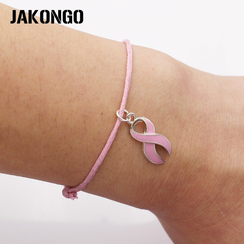 JAKONGO Hope Ribbon Breast Cancer Charm Pendant Bracelet Handmade Rope Adjustable Bracelet DIY  20pcs/lot-in Charm Bracelets from Jewelry & Accessories