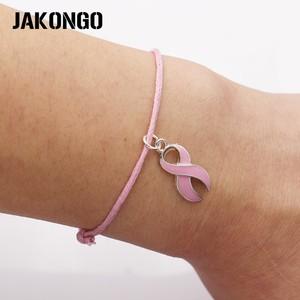 Image 1 - JAKONGO nadzieję, że wstążka raka piersi uroku wisiorek bransoletka ręcznie liny regulowana bransoletka DIY 20 sztuk/partia