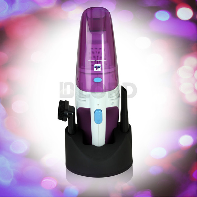 Portable Battery Powered Vacuum Cleaner suitable for Home and car use Purple and white