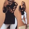 ZANZEA Новый Blusas 2017 Сексуальная V Шеи Выдалбливают Длинные рукав Черные Женщины Блузка Топы Повседневная Бинты Рубашки Плюс Размер блузки