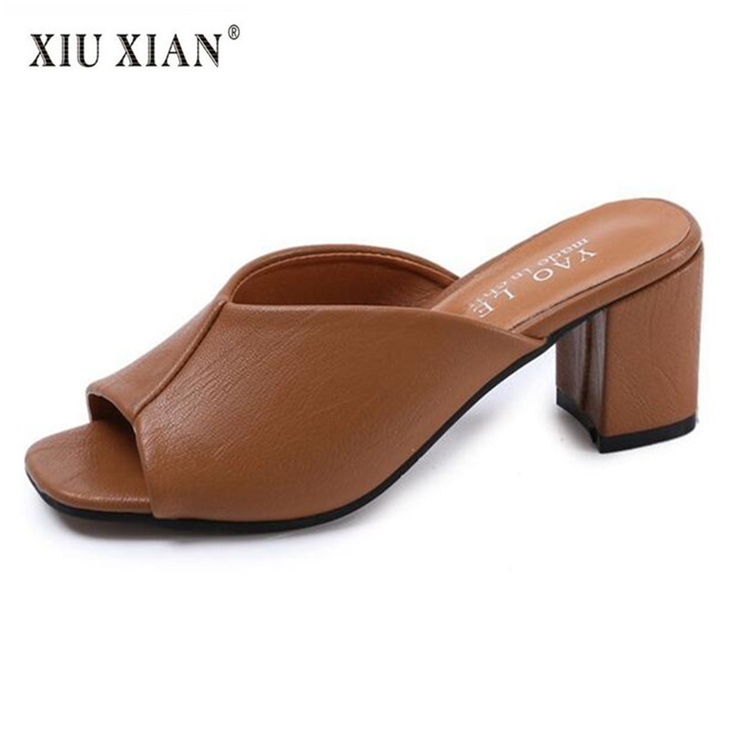2018 new arrived thick high heel peep toe women slippers PU leather slip on comfortable summer fashion lady outside office shoes 2018 summer new arrived strap design wedges women sandals peep toe comfort mid heel sexy lady sandal fashion student casual shoe