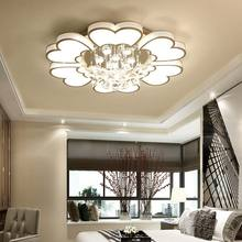 Modern Crystal Chandelier Lighting Living Room Kitchen Foyer Loft White Acrylic Lamp shade Lustre Decor Home Light Fixtures 220V