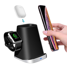 7.5 w 10W nhanh QI Wireless Charger Stand cho Apple Watch 2 3 4 5 AirPods iPhone 8 8Plus X XR XS Max 11 Pro Samsung Galaxy S10 5g S10e S10 S9 S8 S7 S7edge Note8 Note9 Note10 Dock sạc không dây