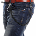 New Thick Black  Leather Silver Metal Wallet Fashion Jeans Key Chain Rock Biker  53CM Long Hip Hop Trousers Chain