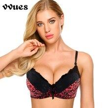 VVUES Sexy Lace Bra Plus Size 105C Digital Print  Floral Romantic Seamless Black Underwear Intimate Bralette Big
