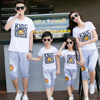 2018 Summer Family Matching Clothes Look Father Mother Son Daughter Outfits Clothing T shirt Mommy Daddy and Kids Dresses