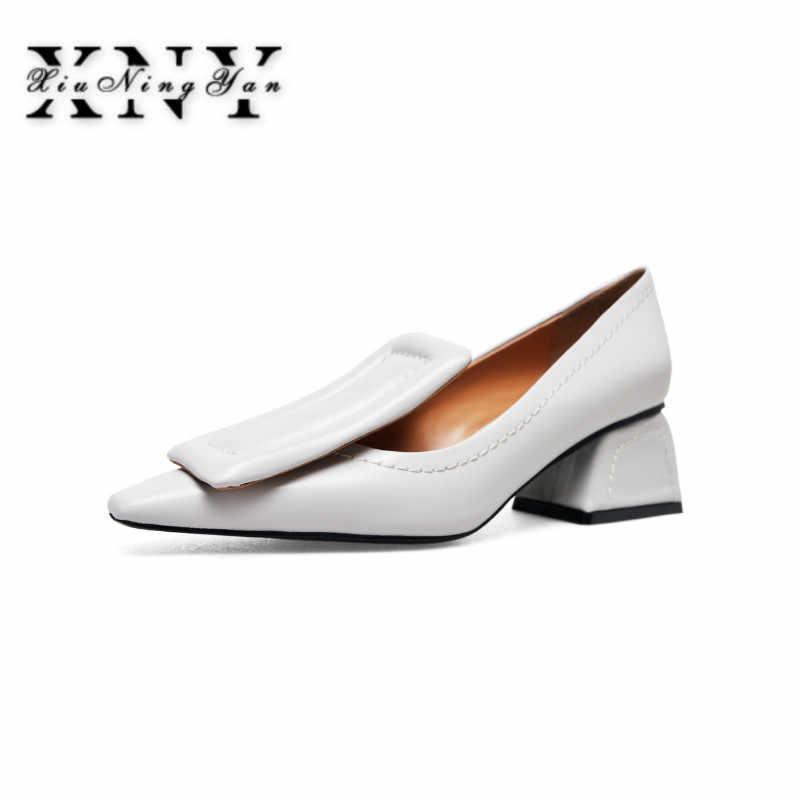 22db68176 XIUNINGYAN/Большие размеры 33–40 Для женщин Осенняя обувь на высоком каблуке  5 см