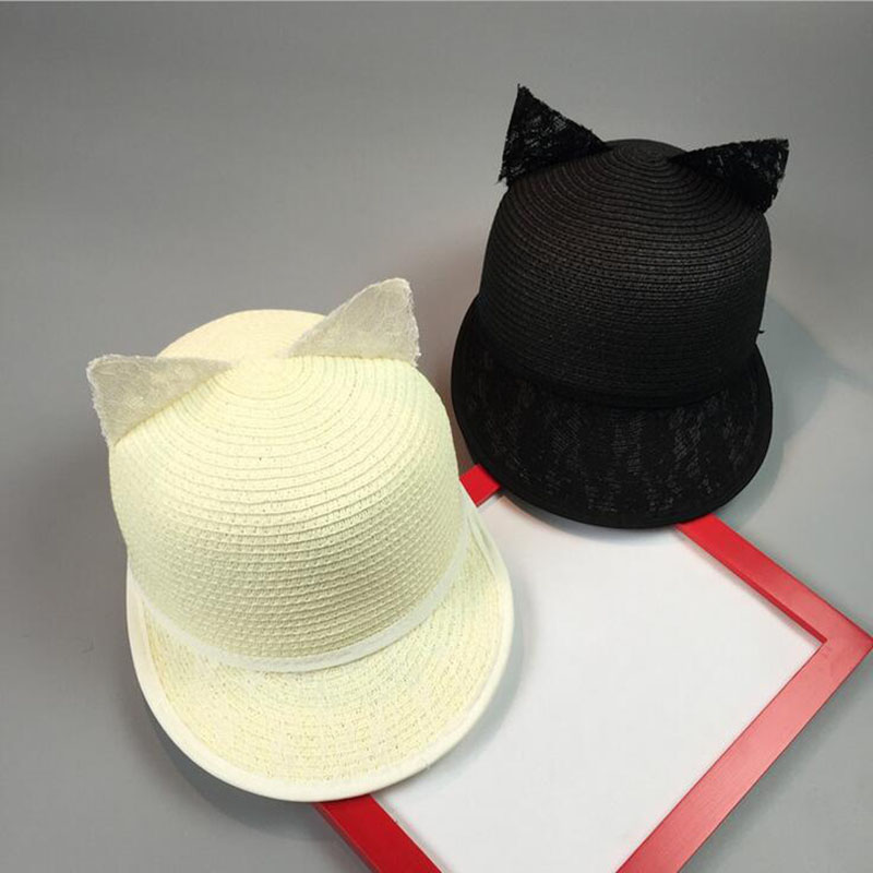 2017 Summer Luxury Elegant Black Lace Baseball Caps with Cat Ears for Women Sun Beach Party Caps Snapback Hats Top Quality