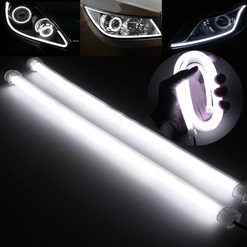 2Pcs 30cm LED Car DRL White Strip Light Daytime Running Lamp Flexible Soft Tube Lamp Universal for Car Auto Decorative Headlamp 2017 2pcs 30cm led white car flexible drl daytime running strip light soft tube lamp luz ligero new hot drop shipping oct10