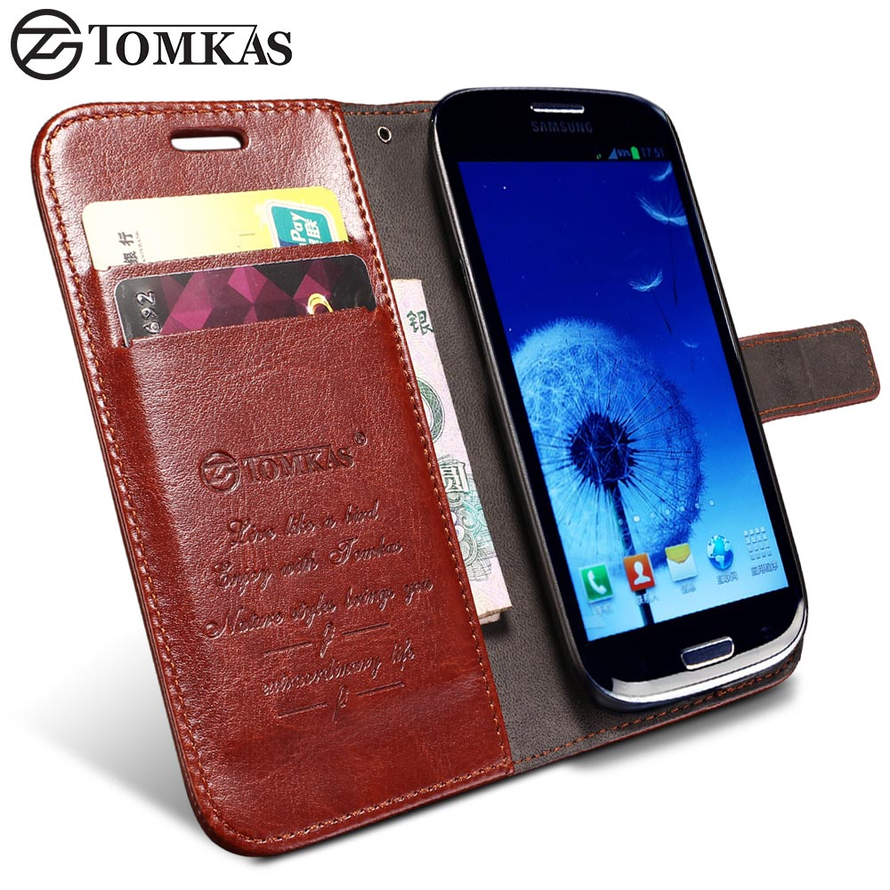 TOMKAS S3 Wallet PU Leather Case For Samsung Galaxy S3 i9300 Luxury Phone Cover Cases KickStand
