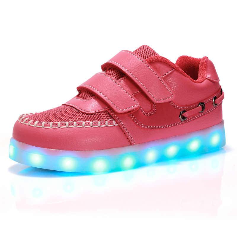 KRIATIV 2018 USBชาร์จเด็กสว่างขึ้นรองเท้าเด็กนีออนledรองเท้าแตะทำอย่างไรกับlight upส่องสว่างรองเท้าผ้าใบสำหรับเด็กและสาว