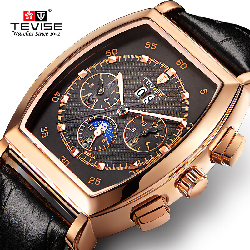 TEVISE Clock Mechanical Men Watches Leather Strap Flat Case Chronograph Waterproof Lunar Phase Luxury Automatic Male Wristwatch