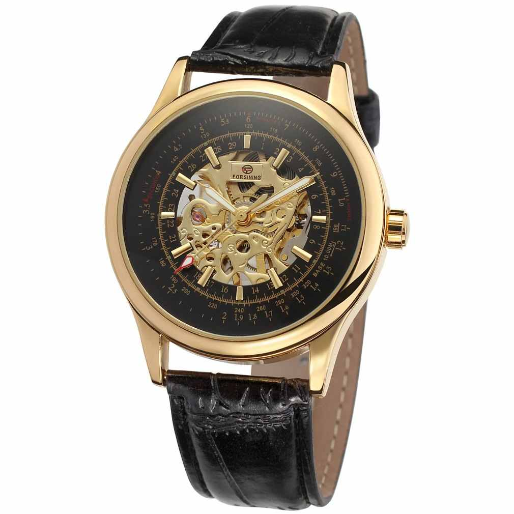 2018 FORSINING موضة تصميم الذهب الأسود ساعة اليد الرياح ساعة ميكانيكية للرجال الأسود حلقة من جلد Relogio الذكور شحن مجاني