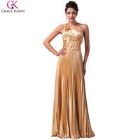 Free Shipping Elegant Grace Karin A Line One Shoulder Satin Ball Evening Gown Prom Wedding Party