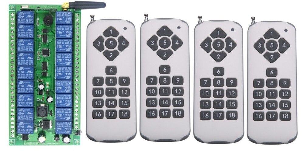 DC12V DC24V 18CH Commutateur de Télécommande Sans Fil RF Système 4 pièces Émetteur + Récepteur + antenne Jogging Auto-verrouillage Inter-verrouillage