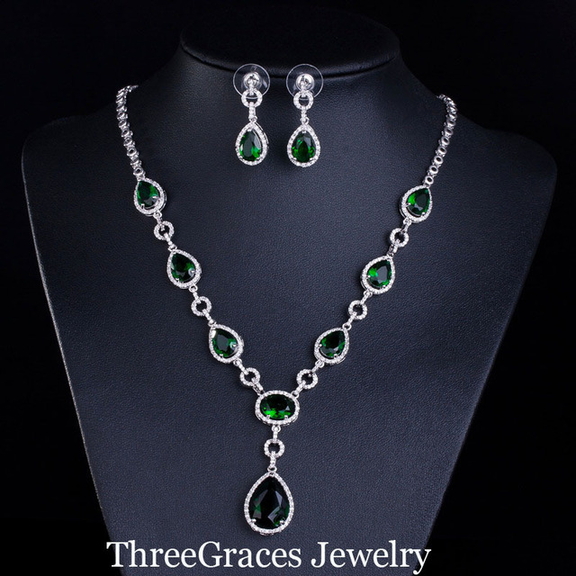 4 Color Options Elegant Emerald Green Cubic Zirconia Stone Necklace and Earrings Costume Jewelry Sets For & 4 Color Options Elegant Emerald Green Cubic Zirconia Stone Necklace ...