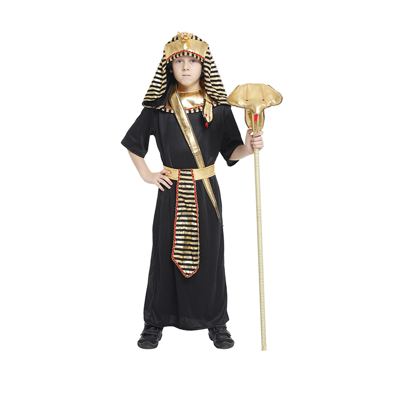 Kids Holiday Children's day Egyptian pharaoh Costumes Halloween masquerade Egyptian Pharaoh King Boy Purim Fancy Dress