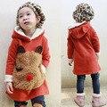 Бесплатная доставка весна 2016 дети зимняя одежда с утолщение капот, флис Медведь Свитер + Леггинсы одежда наборы для девочек