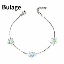 Bulage Simple Stars Crystals Beads Chain Bracelets Crystals From SWAROVSKI Handmade Knots Lucky Bracelet Silver Color Jewelry swarovski lovely crystals mini 5242904