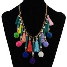 245c9764614dc Bohême nouveau mode cuir fil gland chaîne coloré Pompon boule pendentif  Choker collier pour femmes bijoux