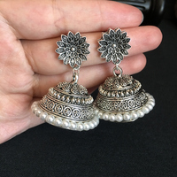 India Bollywood Luxuriant jhumki Earrings Handmade Antique Silver Tribal Artificial pearls Jewelry Hippie Wind Dubai Thailand