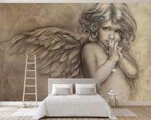 цена на beibehang European mural wallpaper 3D embossed little angel sketch TV background wall living room bedroom mural 3d wallpaper