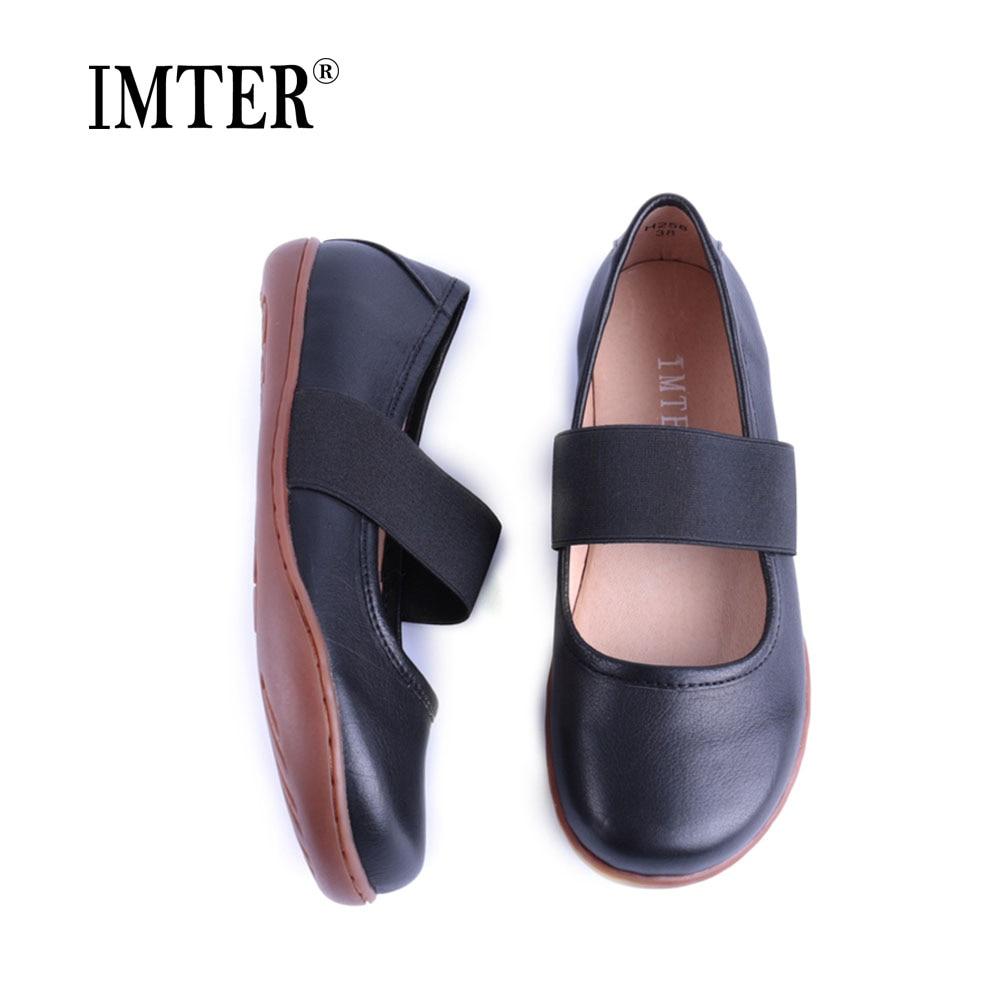 IMTER Women Shoes Plus size Elastic band Slip on Ballerina Shoes 100 Genuine Leather Flat Shoes