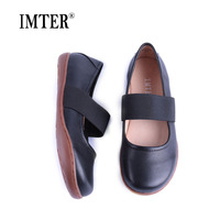 IMTER Women Shoes Plus size Elastic band Slip on Ballerina Shoes 100% Genuine Leather Flat Shoes Women Ballet Flats 2019 (258)