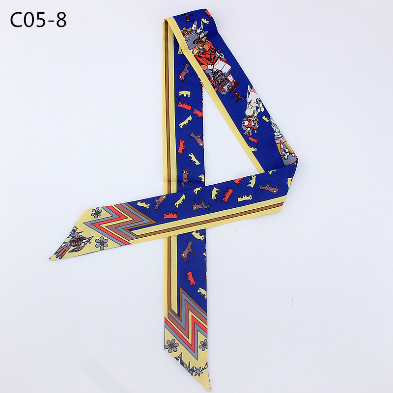 Print Bag Strap Scarf 2019 Womens Silk Scarf Fashion Head Scarf Headwear Long Scarves Bag Accessories Ribbon Riband Handle Bags in Women 39 s Scarves from Apparel Accessories