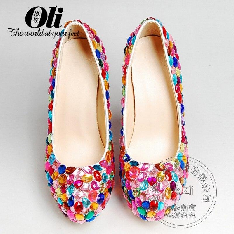 Rhinestone Wedding Dress font b Women b font Shoes Pumps Crystal Luxury Slip On Genuine Leather