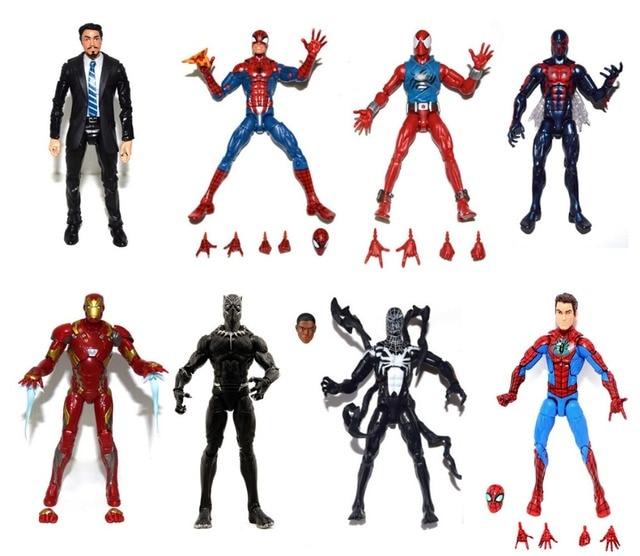 "Marvel Legends Seri Terbatas Pizza 2099 Merah Spiderman Ironman MK46 Tony Stark Racun Panther Hitam 6 ""Longgar Action Figure"