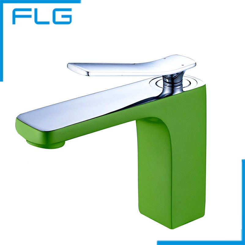 ФОТО Hot And Cold Mixer Tap Solid Brass Basin Faucet Chrome Green Painting Bathroom FLG10031GS