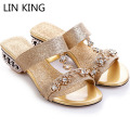 LIN KING Lady Office Career Slippers Rhinestone Women Summer Shoes T-strap Glitter Sandals Thick Heel Anti Skid Slides Big Size
