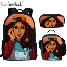 Jackherelook Afro Lady Girl Children School Bags Africa Beauty Princess Girls Pattern 3pcs/Set Backpack for Teenage