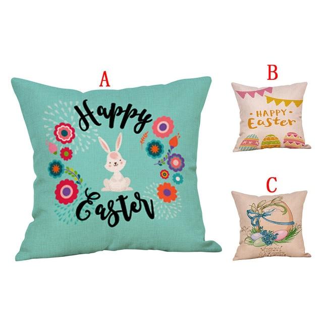 Cute rabbit print Cotton Linen Square Home Decorative Throw Pillowcase Sofa Waist Cushion Cover Comfortable decorative pillows