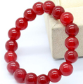 shitou 001036 Natural 10mm Red Ruby Jade Round Fashion Elastic Bracelet Bangle 2pc
