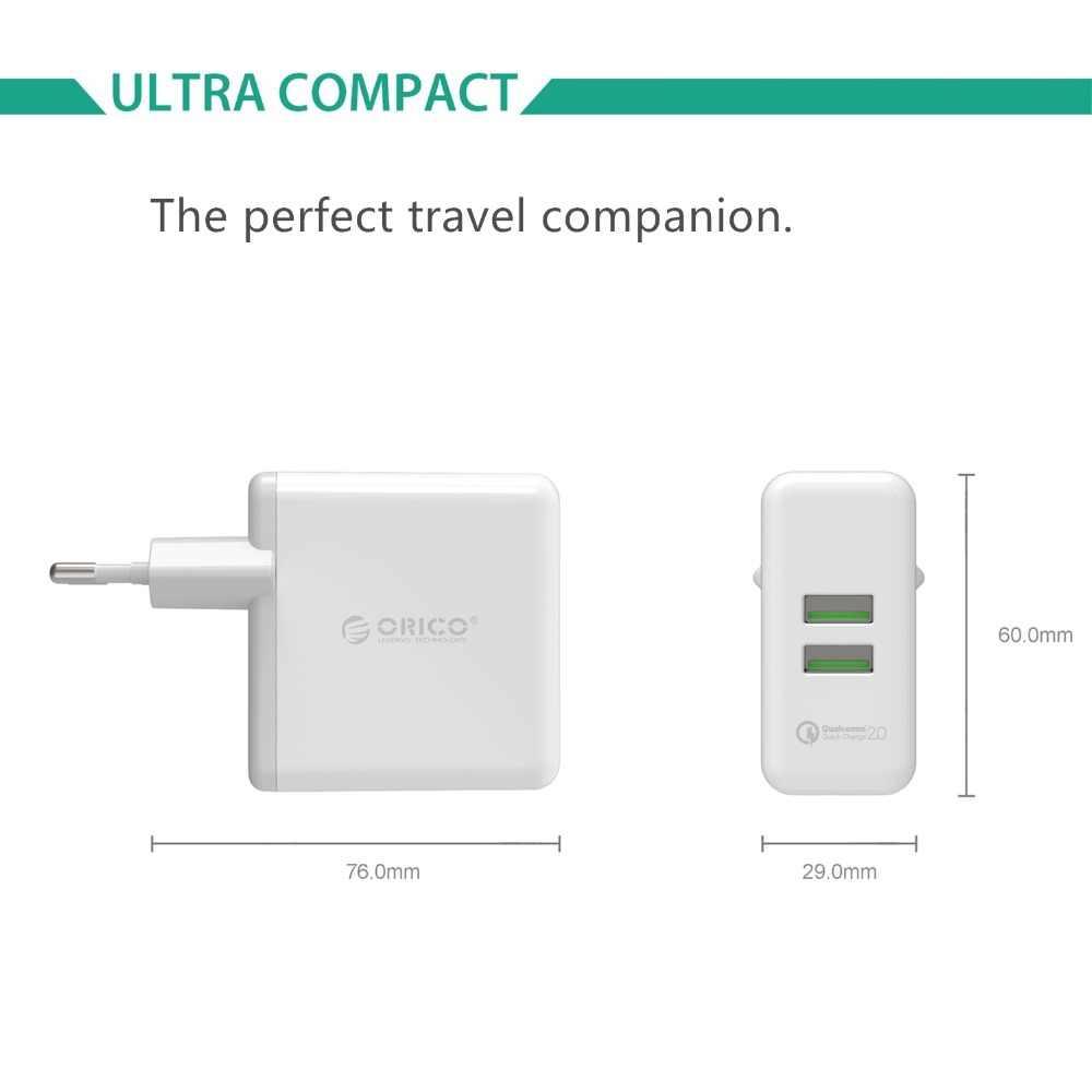 Orico QC2.0 USB Cepat Dinding Charger 2 Port Portable Cepat Pengisian untuk iPhone iMac Laptop Ponsel Travel Charger