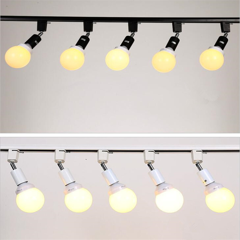 Modern Led E27 Lamp Holder Track Lights With 9W Led Bulb Ac110-240v Beam Angle Can Be Adjusted For Family,shop, Exhibition