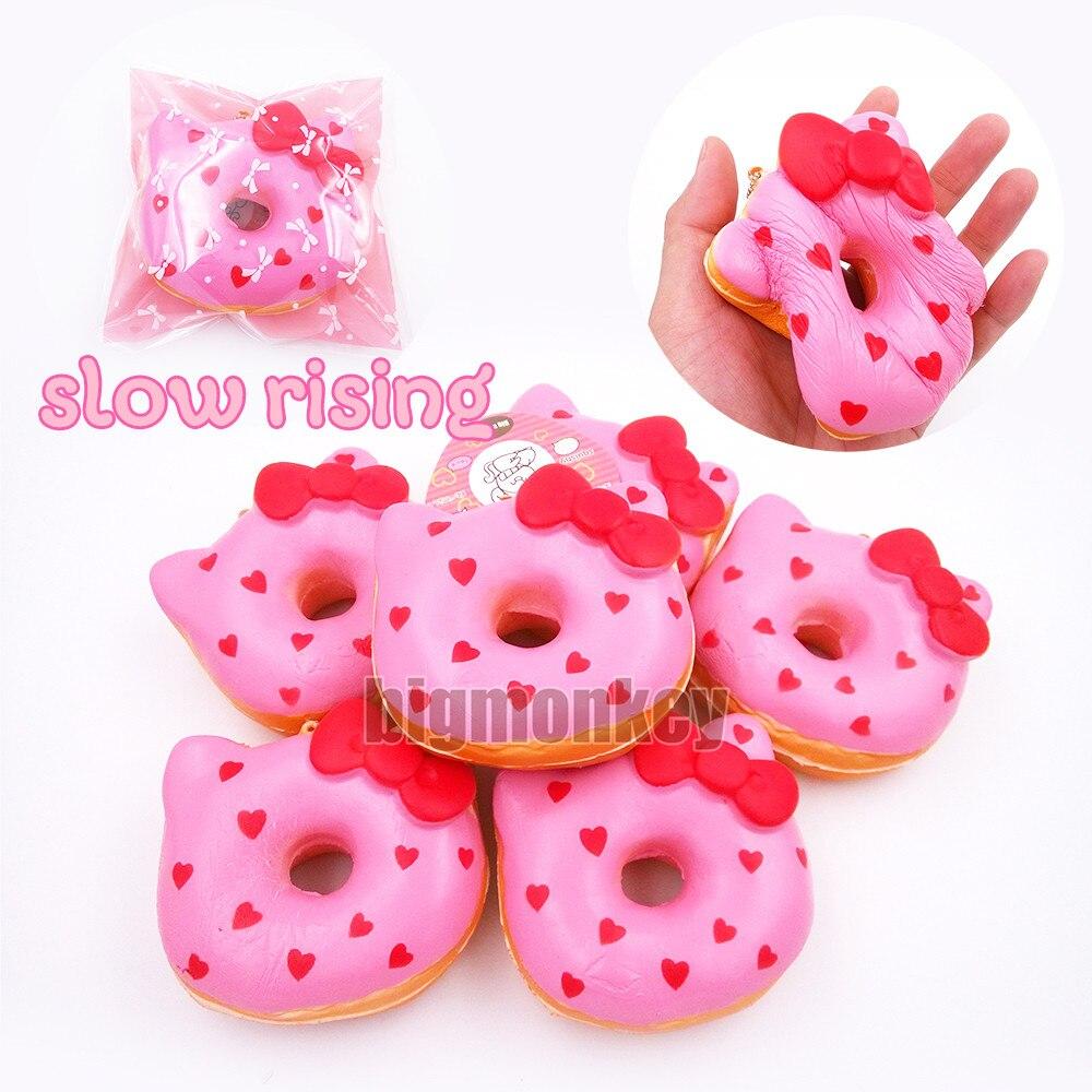 imágenes para Mono grande 20 unids/lote, 10 cm PU corful Colores Candy Kitty Dount Encanto Blando/Decoraciones Del Bolso/Descompresión juguetes