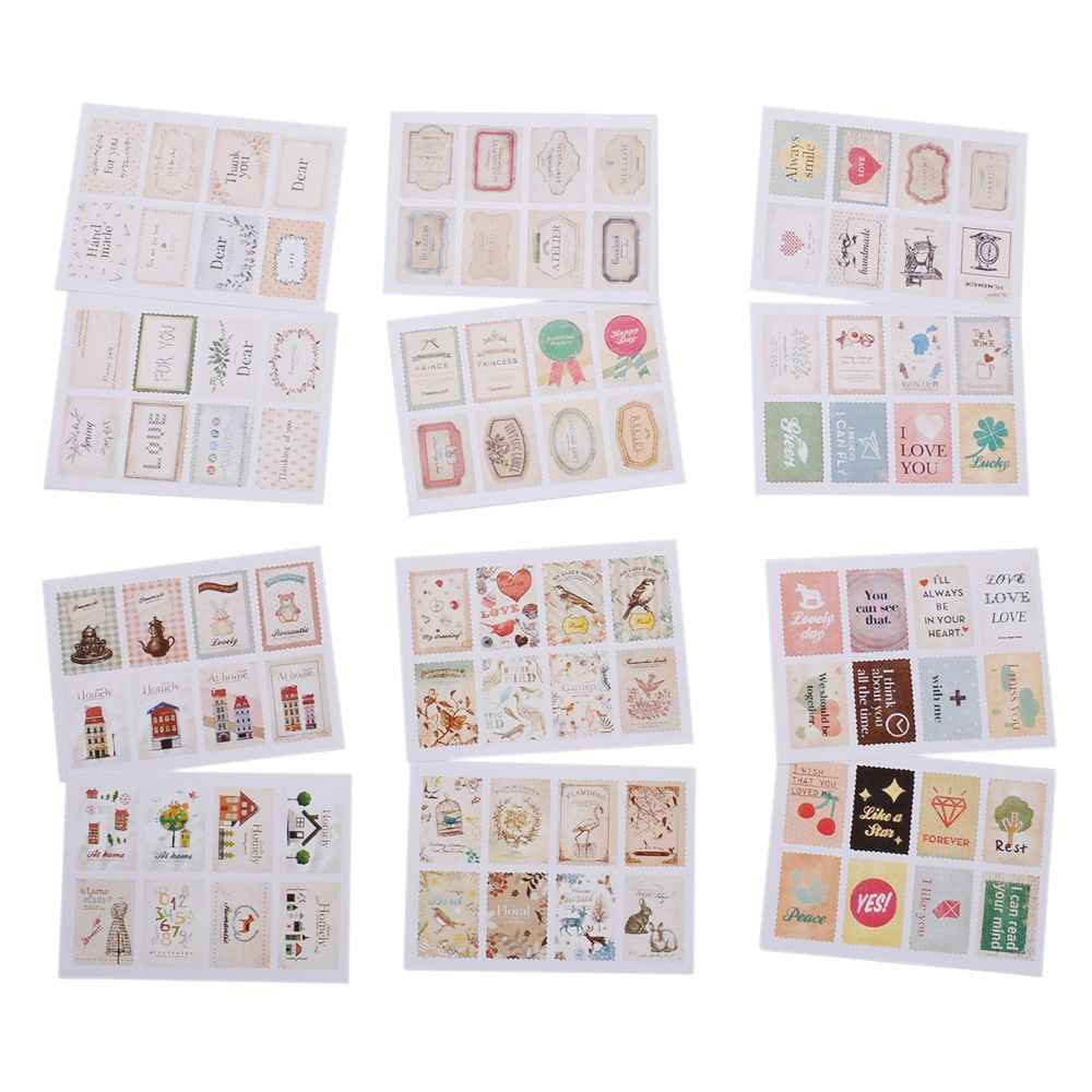 2 Lembar/32 PC Vintage Cap Mini Kertas Stiker Dekorasi DIY Diary Scrapbooking Segel Stiker Kawaii Stationery Set