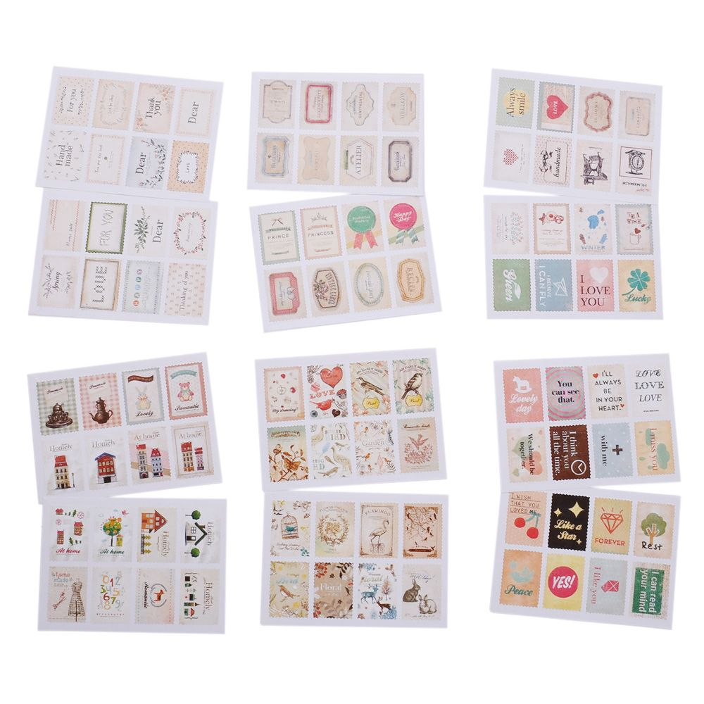 2 Sheet/16pc Vintage Stamp Mini Paper Sticker Decoration DIY Diary Scrapbooking Seal Sticker Kawaii Stationery Set
