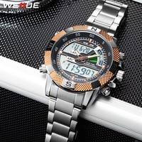 WEIDE Stainless Steel Band Analog Digital Alarm Chronograph Mens Sports Watch Quartz Clock relogio masculino relojes para hombre