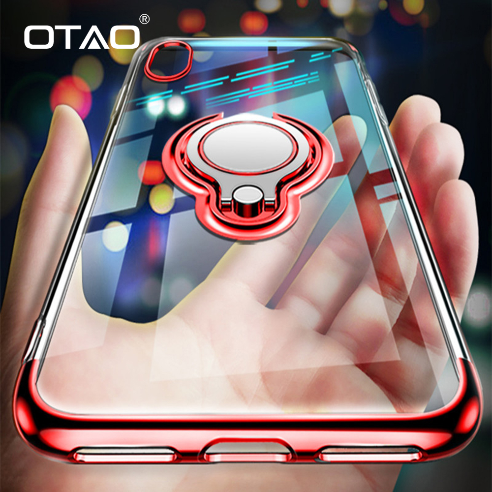 OTAO Ultra Thin Transparent Phone <font><b>Case</b></font> For <font><b>iPhone</b></font> XS MAX XR X <font><b>8</b></font> 7 6 6S Plus Car <font><b>Magnetic</b></font> <font><b>Cases</b></font> Finger Ring Holder Cover Coque image