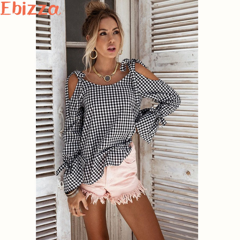 Ebizza Cold Shoulder Black White Women Plaid Blouse Full Flare Sleeves Vintage Blaus Female Summer Autumn Long Sleeve Tops 2017 ...