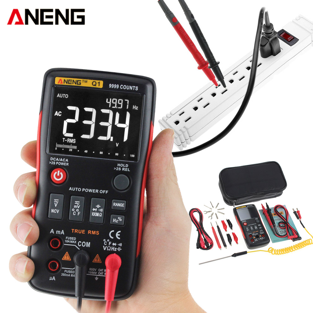 Digital Multimeter Tester Auto Button 9999 Counts True RMS Backlight NCV Analog Bar Graph AC/DC Voltage Ammeter Test PK RM409B
