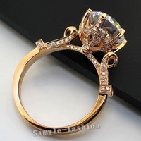 Fashion Jewelry Women Crown Set 3ct Cz Diamond Rose Gold 925 Sterling Silver Engagement Wedding Band